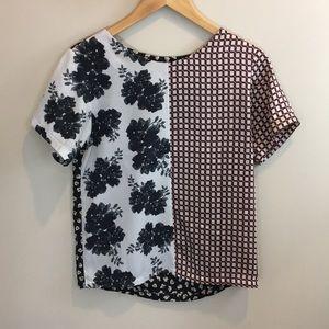 Top Shop Tall floral plaid short sleeve blouse